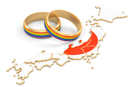 Japanese map with LGBT rainbow rings, 3D rendering