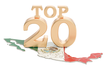 Mexican Top 20 concept, 3D rendering isolated on white background