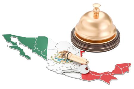 Mexico booking concept. Mexican flag with hotel key and reception bell, 3D rendering Stock Photo