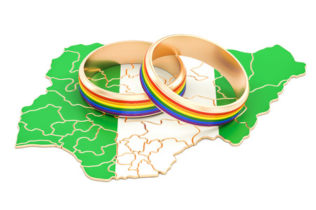 Nigerian map with LGBT rainbow rings, 3D rendering