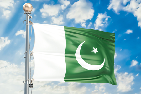 flag of pakistan: Pakistani flag waving in blue cloudy sky, 3D rendering Stock Photo