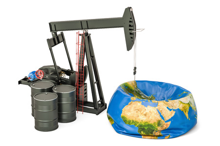 Pumpjack with oil barrels and deflated Earth globe, oil production concept. 3D rendering