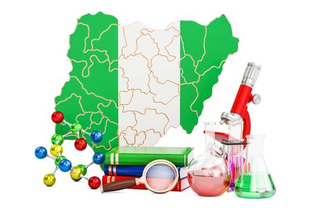 country nigeria: Scientific research in Nigeria concept, 3D rendering isolated on white background