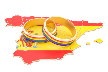 Spanish map with LGBT rainbow rings, 3D rendering