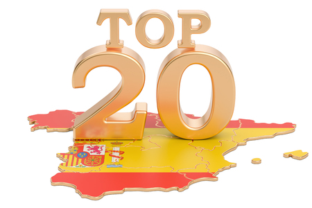 Spanish Top 20 concept, 3D rendering isolated on white background