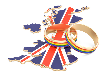 United Kingdom map with LGBT rainbow rings, 3D rendering