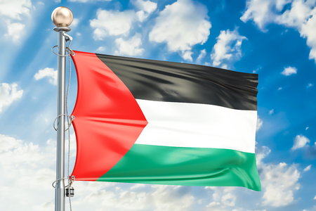 Palestinian flag waving in blue cloudy sky, 3D rendering Stock Photo