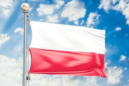 Polish flag waving in blue cloudy sky, 3D rendering