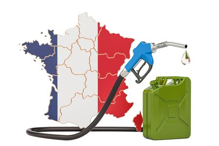 Production and trade of petrol in France, concept. 3D rendering isolated on white background