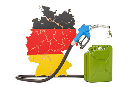 Production and trade of petrol in Germany, concept. 3D rendering isolated on white background