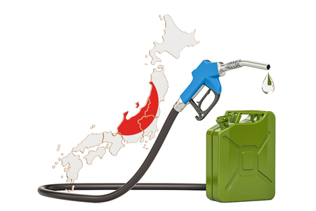 Production and trade of petrol in Japan, concept. 3D rendering isolated on white background