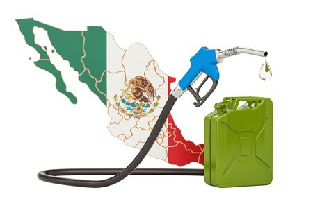Production and trade of petrol in Mexico, concept. 3D rendering isolated on white background Stock Photo