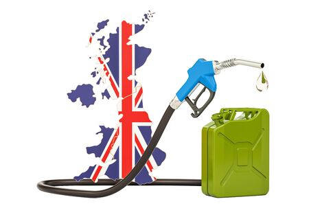 Production and trade of petrol in United Kingdom, concept. 3D rendering isolated on white background