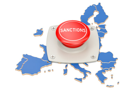 Sanctions button on map of European Union, 3D rendering isolated on white background Stock Photo