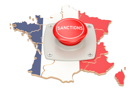 Sanctions button on map of France, 3D rendering isolated on white background