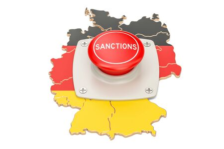 Sanctions button on map of Germany, 3D rendering isolated on white background