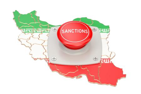 Sanktionsknopf auf Karte vom Iran, Wiedergabe 3D lokalisiert auf weißem Hintergrund Standard-Bild - 83308568
