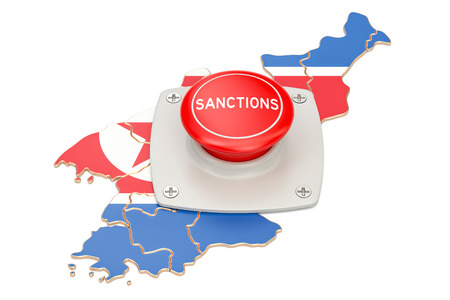 Sanctions button on map of North Korea, 3D rendering isolated on white background Stock Photo