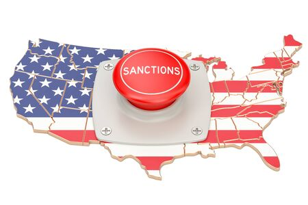 Sanctions button on map of USA , 3D rendering isolated on white background