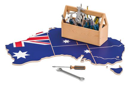 map toolkit: Service and repair in Australia concept, 3D rendering
