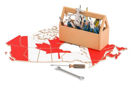 map toolkit: Service and repair in Canada concept, 3D rendering