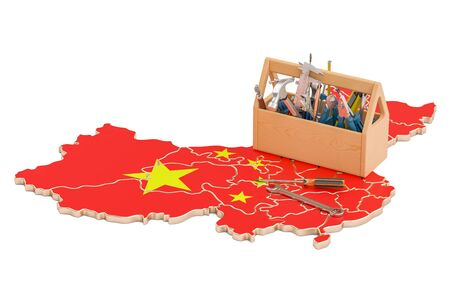 map toolkit: Service and repair in China concept, 3D rendering