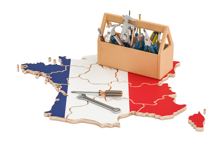 map toolkit: Service and repair in France concept, 3D rendering