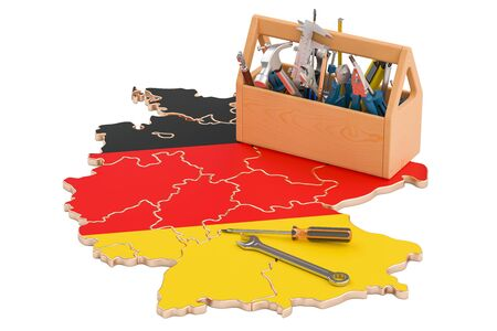map toolkit: Service and repair in Germany concept, 3D rendering Stock Photo