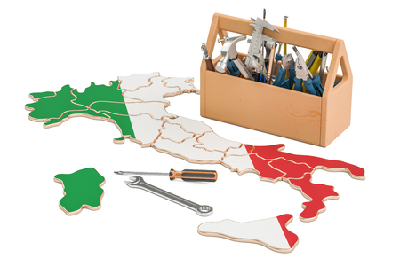 map toolkit: Service and repair in Italy concept, 3D rendering