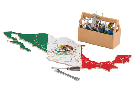 map toolkit: Service and repair in Mexico concept, 3D rendering