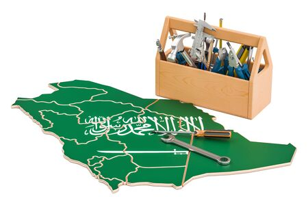 map toolkit: Service and repair in Saudi Arabia concept, 3D rendering Stock Photo