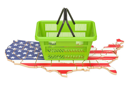 Shopping basket on American map, market basket or purchasing power in USA concept. 3D rendering