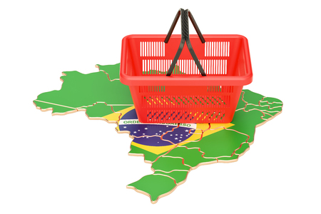 Shopping basket on Brazilian map, market basket or purchasing power in Brazil concept. 3D rendering