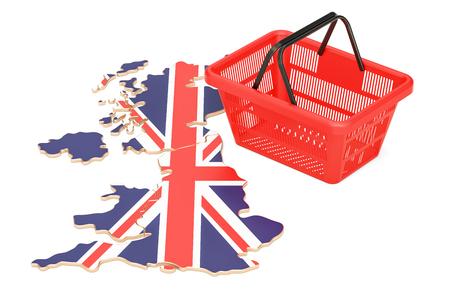 Shopping basket on British map, market basket or purchasing power in United Kingdom concept. 3D rendering