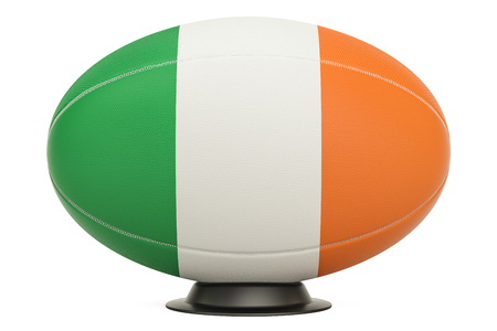 Rugby Ball with flag of Ireland on the ball stand, 3D rendering Stock Photo