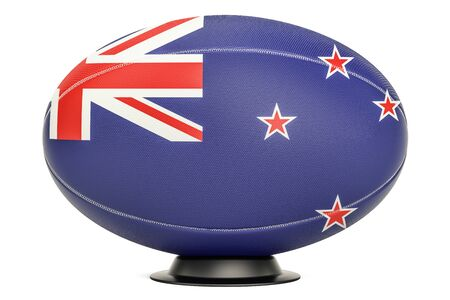 Rugby Ball with flag of New Zealand on the ball stand, 3D rendering