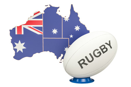 Rugby Ball with map of Australia, 3D rendering Stock Photo