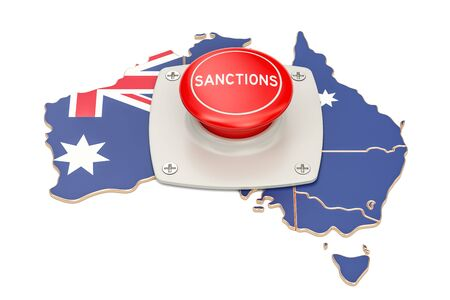 Sanctions button on map of Australia, 3D rendering isolated on white background Stock Photo