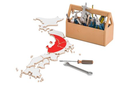 map toolkit: Service and repair in Japan concept, 3D rendering