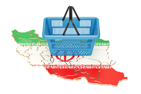 purchasing power: Shopping basket on Iranian map, market basket or purchasing power in Iran concept. 3D rendering Stock Photo