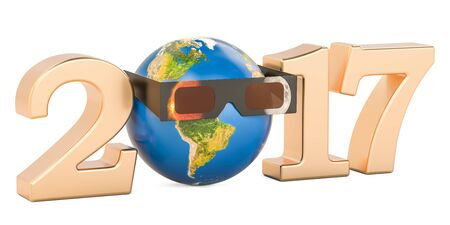 Solar Eclipse 2017 concept, Earth Globe with solar eclipse glasses. 3D rendering isolated on white background Stock Photo