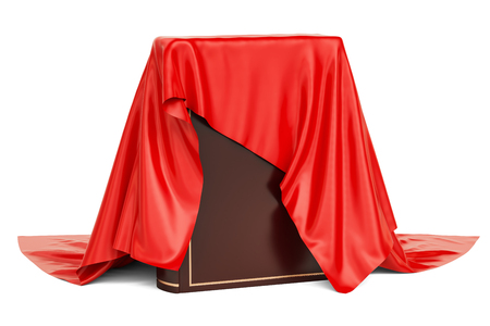 Car covered red cloth, presentation concept. 3D rendering  isolated on white background Stock Photo