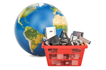 Globe Earth with shopping basket full of home and kitchen appliances, global shopping concept. 3D rendering