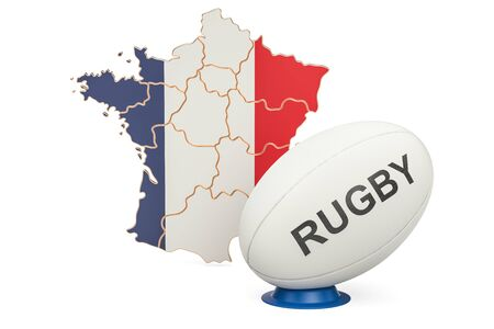 Rugby Ball with flag of France, 3D rendering isolated on white background Stock Photo