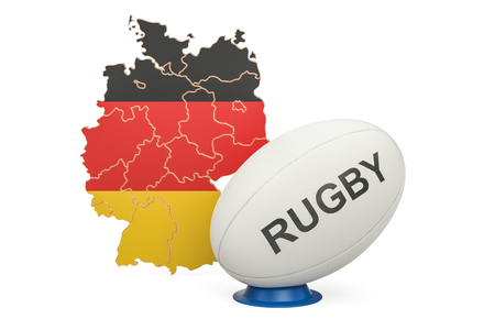 Rugby Ball with flag of Germany, 3D rendering isolated on white background