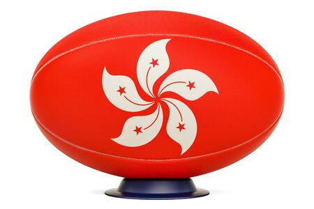 Rugby Ball with flag of Hong Kong, 3D rendering isolated on white background