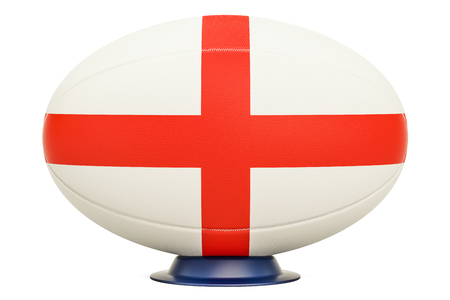 Rugby Ball with flag of England, 3D rendering isolated on white background Stock Photo