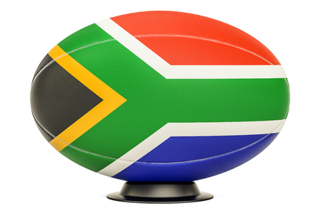 Rugby Ball with flag of South Africa, 3D rendering isolated on white background