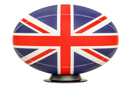Rugby Ball with flag of UK, 3D rendering isolated on white background Stock Photo