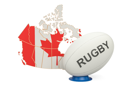 Rugby Ball with map of Canada, 3D rendering Stock Photo